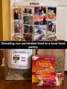 Donating to a food bank.