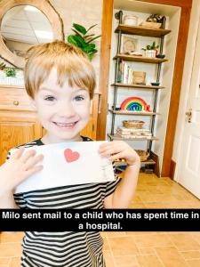 Milo sent mail to a child who has spent time in the a hospital.